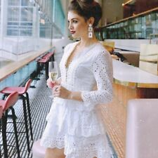 Chicwish Enchanting Dreams White Cotton Embroidered Eyelet Lace Tiered Dress S