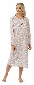 Ladies 100% Cotton Long Sleeve Slip on Nightdress Nightie Size UK 24/26
