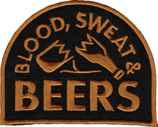 """Patch - Blood Sweat & Beers Funny Drink Booze 3.38"""" Embroidered Iron On 58065"""