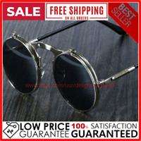 Steampunk Men Women Vintage Round Fashion Metal Frame Retro Shades Sunglasses