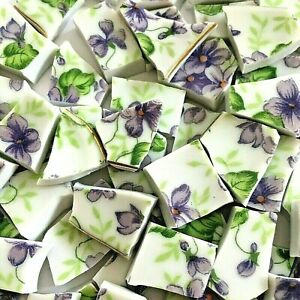 "65 BROKEN CHINA MOSAIC TILES~ 1/2"" PURPLE VIOLETS Flowers CHINTZ Green"