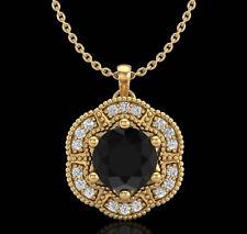 1.01 CTW Fancy Black Diamond Solitaire Art Deco Stud Necklace 18K Yellow Gold