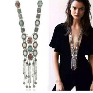 Boho festival silver Tassel Gems Long statement chunky bib necklace