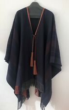 Hermes Poncho Wrap Rocabar Leather Pompons Tassels New