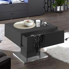 Couchtisch 70 Tisch Wohnzimmertisch anthraz matt lack edelstahloptik dunkelgrau