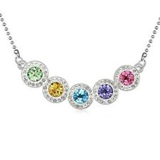 18K White Gold Plated Made with Swarovski Elements Multi-colour 5 Round Necklace