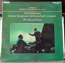 Beethoven Piano Concertos 3 & 4 - Rubinstein, Leinsdorf, BSO -red seal LP record