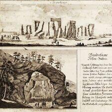 STONEHENGE - Incisione Originale 1725 Esoterismo Magia Amesbury Monoliti