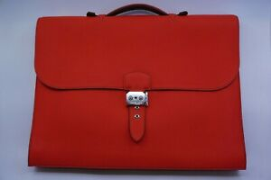 Mint Hermes Sac A Depeches 41 Clemence Leather Red Briefcase Bag Unisex $8,600