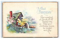 Postcard A Glad Birthday Greeting singing brook 1930 D25