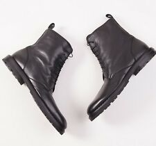 New $875 ISAIA NAPOLI Shearling-Lined Black Grained Leather Ankle Boots US 10 D