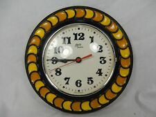 Beautiful 70´s design SCHATZ Quartz Keramik Wanduhr / pottery wall clock 24 cm