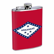 Arkansas Flask D1 8oz Hip Stainless Steel State Flag Drinking Whiskey Liquor