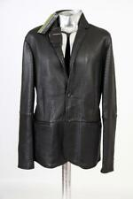 Emporio Armani Textured Leather Blazer Cut Jacket Black EU52 Large RRP £1350