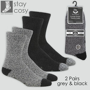 2 Pairs Mens Black Winter Thermal Bed Socks Non Slip Fluffy Cosy Warm Size 6-11
