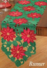 Pretty Green and Embroidered RED POINSETTIA CHRISTMAS TABLE RUNNER, NEW!
