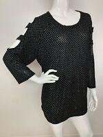 Women's New Plus 2X Black White Polka Dot 3/4 Sleeve Top Blouse Tunic Boho NWT