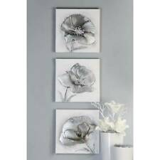 3er Set Wandbilder, Leinwand Ölbilder FLOWERS je 30x30cm silber grau Casablanca