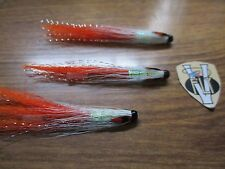 3 V Fly 1.5 Inch Birgham JC Rocket Shrimp Copper Salmon Tube Flies & 3 Trebles
