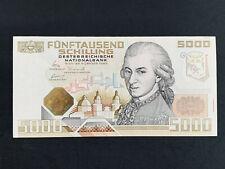 5000 Schilling Banknote Österreich - Mozart 1988, UNC