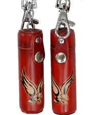 A Pair of Leather ChapStick/toothPick Holder, Pill Case.Giant Eagle pattern. Red