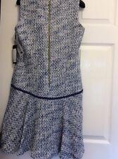 KARL LAGERFELD Bouclé Tweed Dress Size 8UK (40IT). Blue & White. New