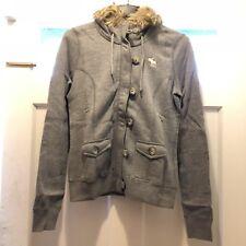 NWT Abercrombie & Fitch A&F Tristen Full Zip Sweater Hoodie Faux Fur Trim L Grey