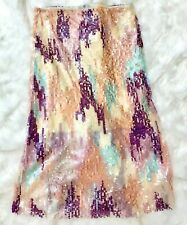 ZARA MULTICOLOURED PRINTED TULLE SKIRT WITH SEQUINS SIZE M UK 10