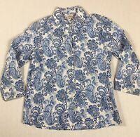 ANOKHI EAST Size 10 White & Blue Paisley Pattern Blouse 3/4 Sleeve 100% Cotton