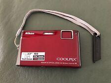 "NIKON Coolpix S60 10.0 MP 5x Zoom 3.5 LCD Digital Camera-Crimson Red ""Excellent"""