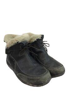 Merrell Women's Black Leather Waterproof Faux Fur Lined Ankle Boots Sz 7