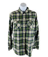 Woman's Eddie Bauer Medium M Green  Plaid Long Sleeve Button Down Shirt Blouse
