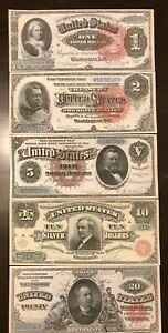 Reproduction Set 1886 Silver Certificates USA Currency Copies $1 $2 $5 $10 $20