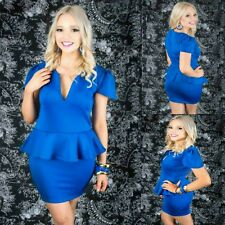 Sz 12 14 Blue Peplum Cap Sleeve Sexy Formal Gown Party Wear Cocktail Club Dress