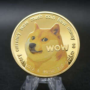 New Gold Dogecoin Coins Commemorative Collectors Gold Plated Doge Coin