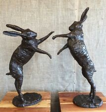 Large Bronze boxing Hares 3ft tall Hot cast Bronze Larger than life Hares