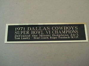 Dallas Cowboys Super 6 Champions Nameplate for a Football Display Case 1.5X8