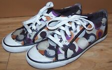 Coach Multi Colored Sneakers/Casual Shoe Orange/Brown Canvas/Leather Womens 7.5