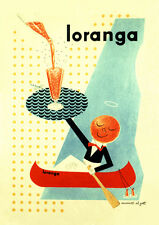 CUTE 1940'S LORANGA SWEDISH ORANGE DRINK ADVERTISING A3 POSTER V.2  RE PRINT