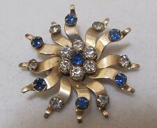 Vtg Medium Blue & Clear Rhinestone Gold Tone Starburst Sunburst 3D Brooch