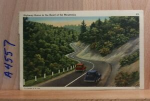 Linen post card, 'Highway Scene in the Heart of the Mountains