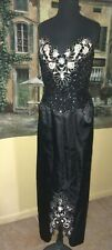 Vintage Mike Benet Black Strapless Beaded Sequin Long Formal Gown 10