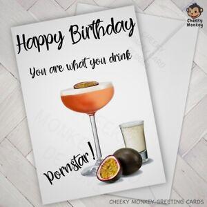 FUNNY Birthday Card PORNSTAR MARTINI Friend female Girl woman rude Naughtyhumour