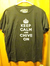 the Chive ~Authentic~ Large ~ Keep Calm and Chive On ~ Gray on Black T Shirt