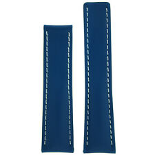 22mm Leather Watch Band Fits Breitling 20mm Deployment Blue