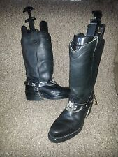Black Leather HARLEY DAVIDSON BOOTS w/CHAIN STRAPS-Cowboy-Engineer-Pull On-Sz6.5