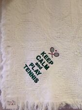 Keep Calm and Play Tennis rackets Jacquard Cotton Woven Embroidered Blanket NEW