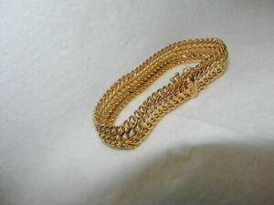 "14K Italy Solid Yelow Gold Fancy Mesh Chain 6.75"" Bracelet 12.6 grams"