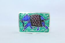 Green Enamel Cloisonne Stamped 925 Sterling Silver Trinket Box Elephant figure
