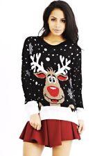 Womens Rudolph Reindeer Snowflake Christmas Jumper Ladies Sweater Top Casual UK